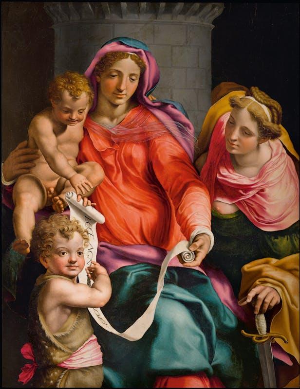 Daniele Ricciardelli da Volterra (Volterra, 1509 - Roma, 1566)  Madonna col Bambino, san Giovannino e santa Barbara  1548 circa  olio su tavola  131,6 x 100 cm