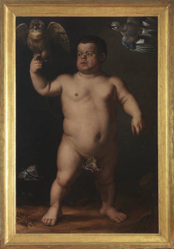 """Agnolo di Cosimo detto Bronzino (Italia, Firenze 1503 – 1572) """"Ritratto del Nano Morgante""""  olio su tela  149 x 98 cm (Altezza x Larghezza)  1553 circa"""