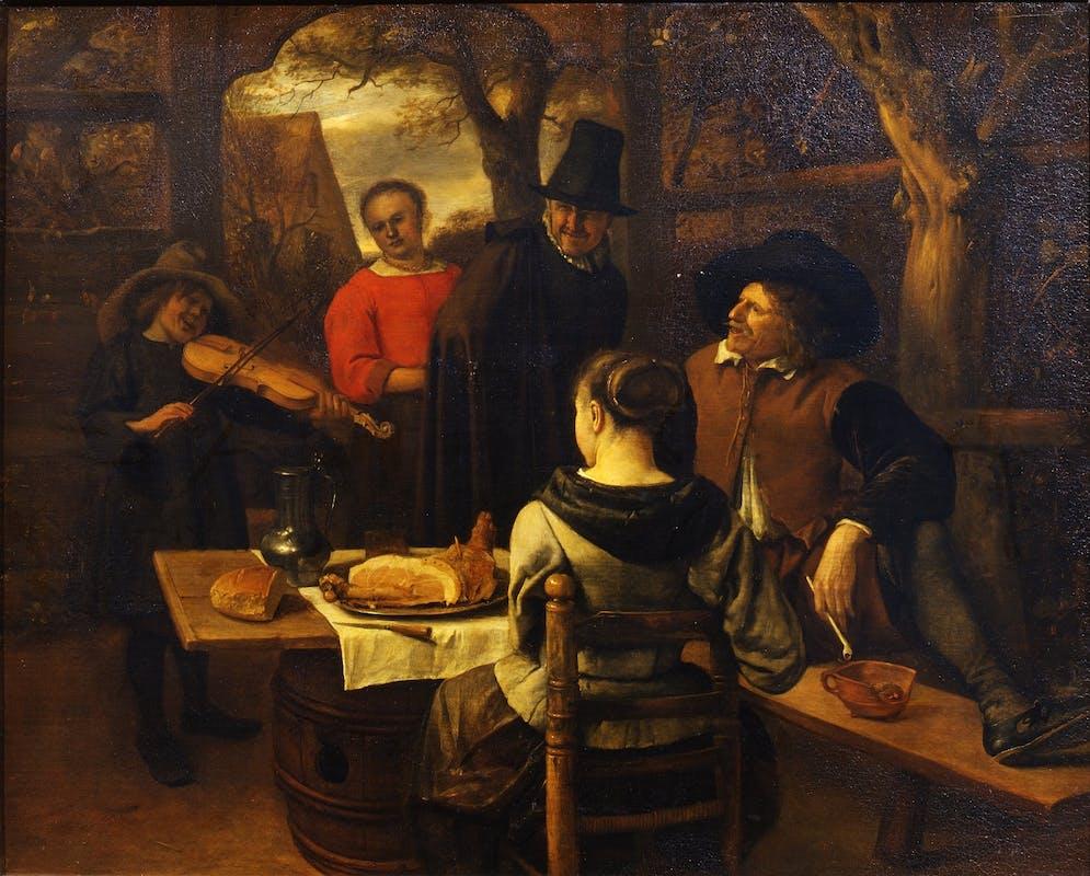 Jan Steen (Leida, 1625/1626-1679), La colazione ( o Il piccolo violinista), seconda metà del XVII secolo, Gallerie degli Uffizi