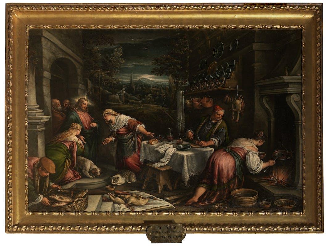 Francesco Bassano (Bassano del Grappa, 1549 - Venezia, 1592) e bottega, Cristo in casa di Marta, 1576-77, Galleria Palatina