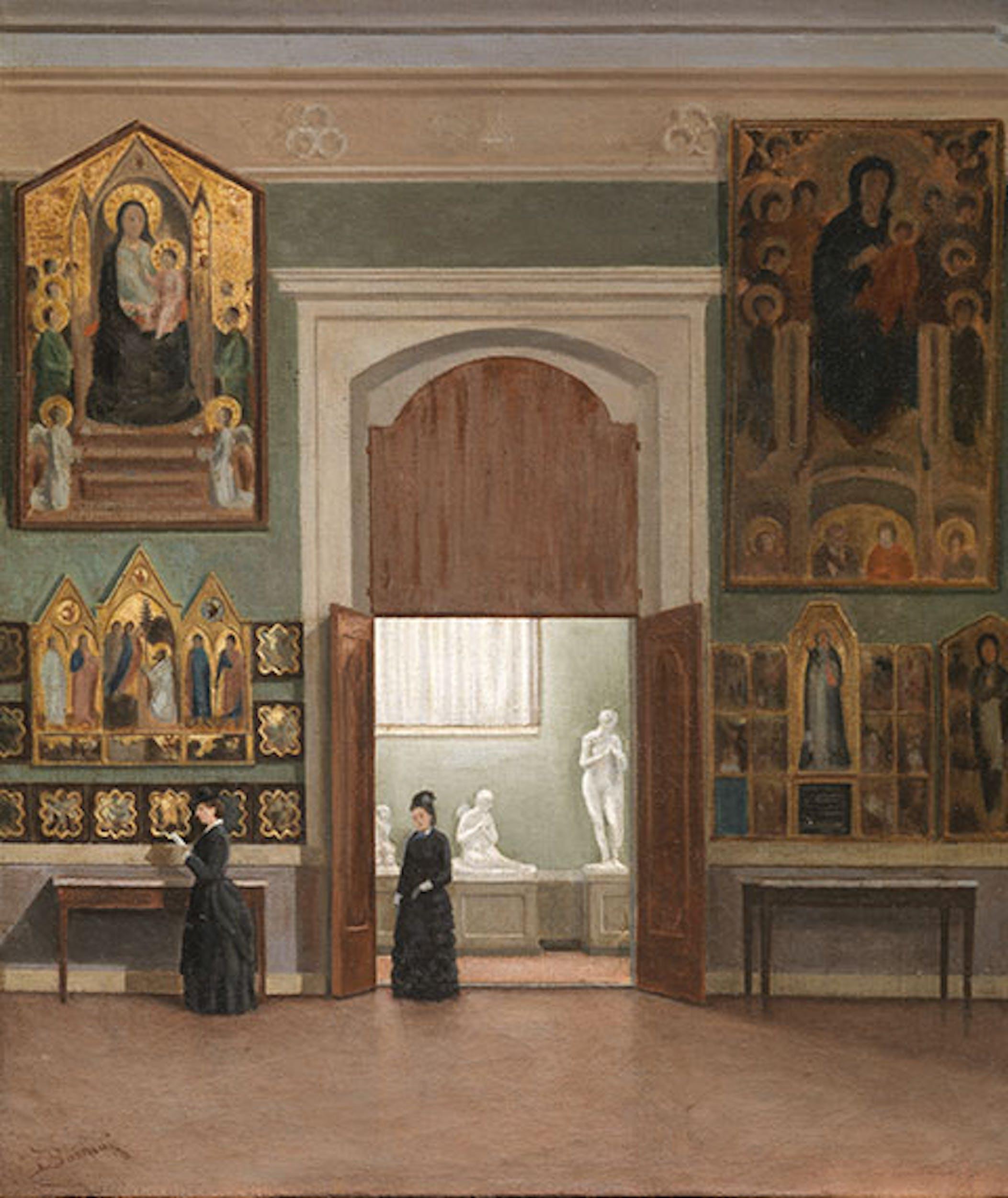 Odoardo Borrani (Pisa 1833 – Firenze 1905) Alla Galleria dell'Accademia, 1960-1870 Olio su tela, cm 42x37 Inv. 1890/10107
