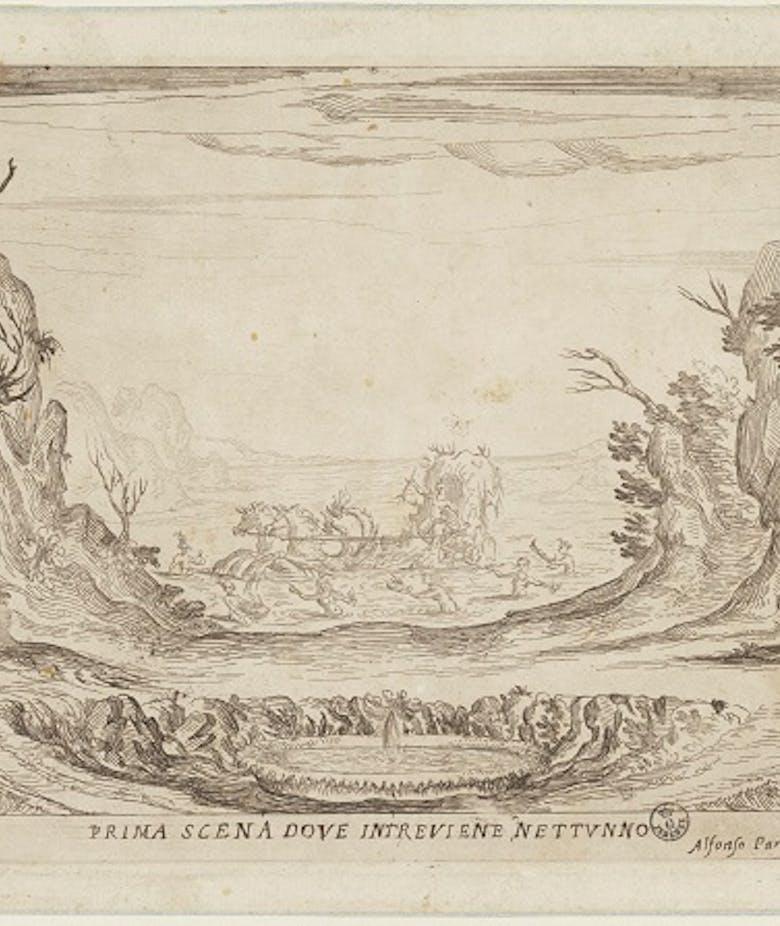 La liberazione di Ruggiero dall'isola di Alcina. Prima scena dove interviene Nettuno