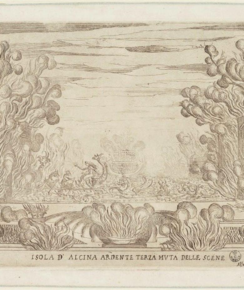 La Liberazione di Ruggiero dall'isola di Alcina. Isola d'Alcina ardente. Terza muta delle scene