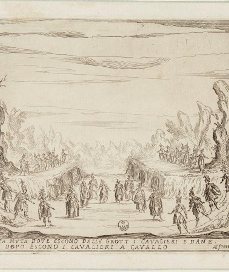La Liberazione di Ruggiero dall'isola di Alcina. Quarta muta dove escono dalle grott[e] i cavalieri e dame. Dopo escono i cavalieri a cavallo