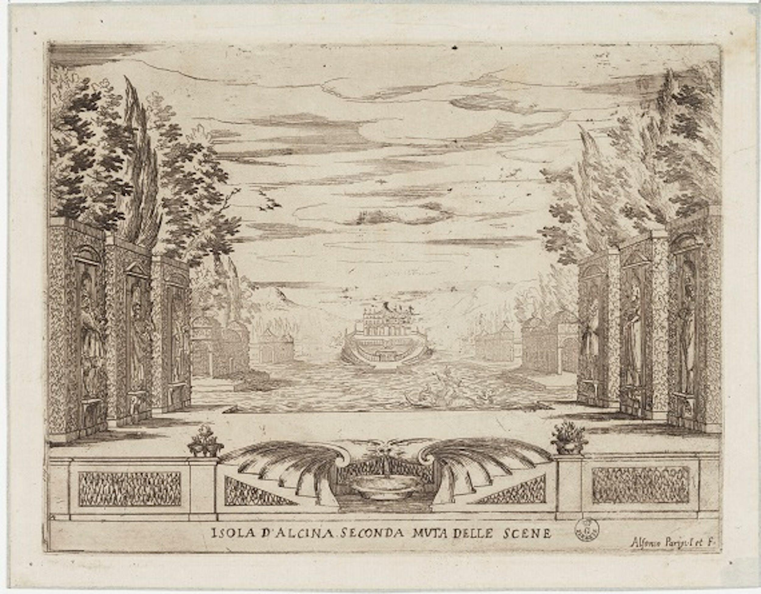 Alfonso Parigi (Firenze 1606-1656),La Liberazione di Ruggiero dall'isola di Alcina. Isola d'Alcina. Seconda muta delle scene, 1625, GDS Uffizi