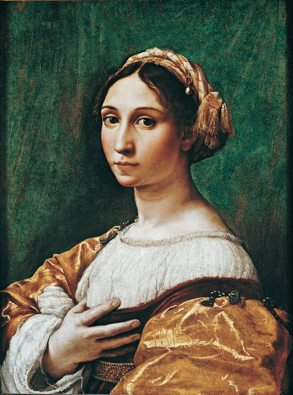 Raffaello (Urbino, 1483-Roma, 1520) e Giulio Pippi, detto Giulio Romano (Roma, 1499-Mantova, 1546) Ritratto di giovane donna 1518-1520 ca. olio su tavola Musée des Beaux-Arts, Strasbourg | Sebastiano Luciani known as Sebastiano del Piombo (Venice, 1485 – Rome, 1547) The Death of Adonis 1512 oil on canvas Galleria delle Statue e delle Pitture, Gallerie degli Uffizi, Florence