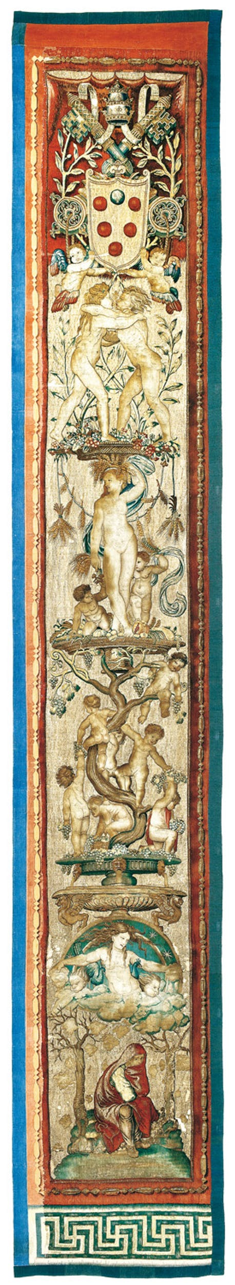 Bottega di Pieter van Aelst (Pieter I van Edingen o Enghien, 1450 ca.-1533), su disegno e cartone di Raffaello e bottega Bordura con le Stagioni per la serie degli Atti degli Apostoli 1515-1521 lana, seta, argento dorato Musei Vaticani, Roma | Workshop of Pieter van Aelst, known as Pieter van Edingen or Enghien (c. 1450 – 1533), after a drawing and cartoon by Raphael and his workshop Around the border, the Seasons for the Acts of the Apostles series 1515-21 wool, silk, silver gilt  Vatican Museum, Rome