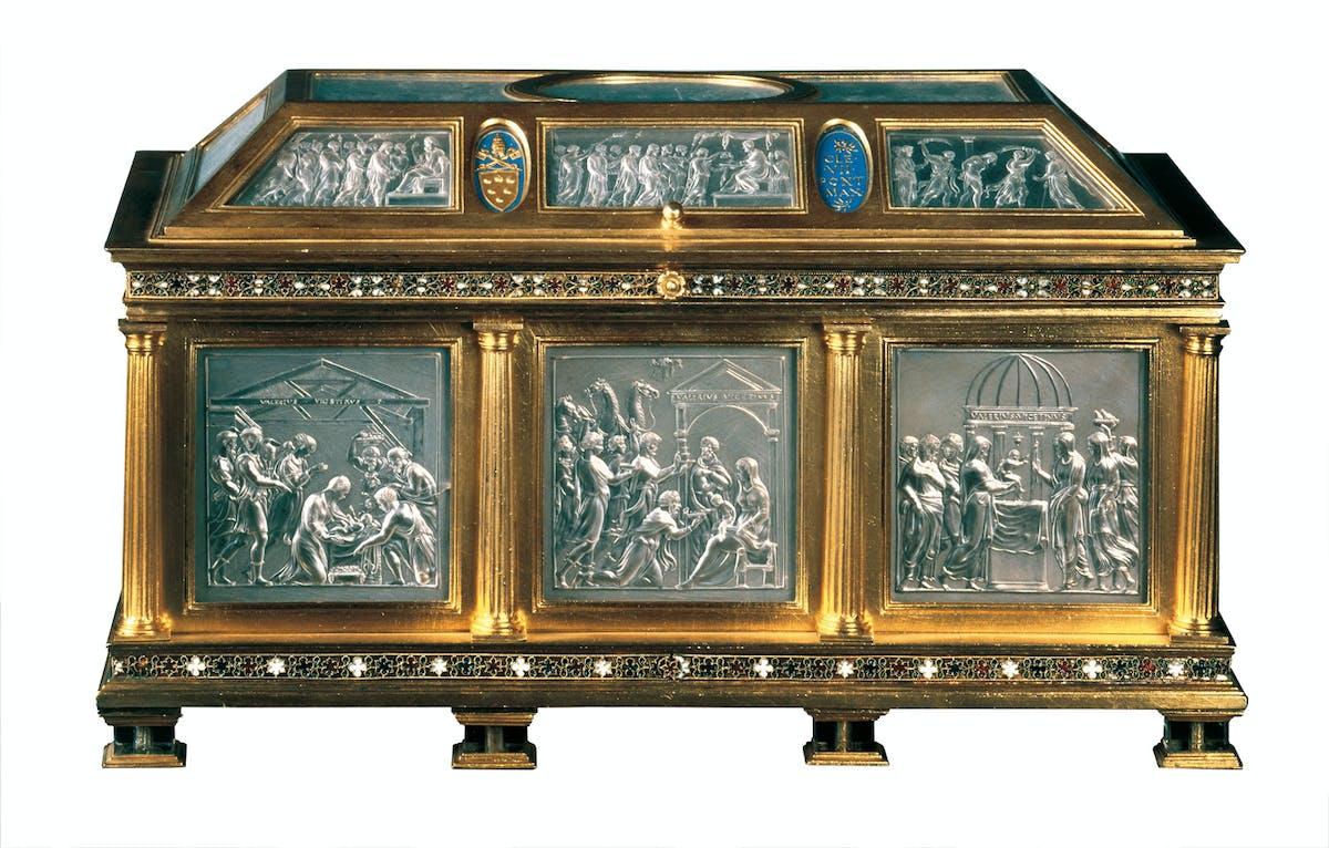 Valerio Belli (Vicenza, 1468-1546) Cassetta Medici 1532 argento dorato, smalti, cristallo di rocca inciso e controfondato con foglie d'argento Tesoro dei Granduchi, Gallerie degli Uffizi, Firenze