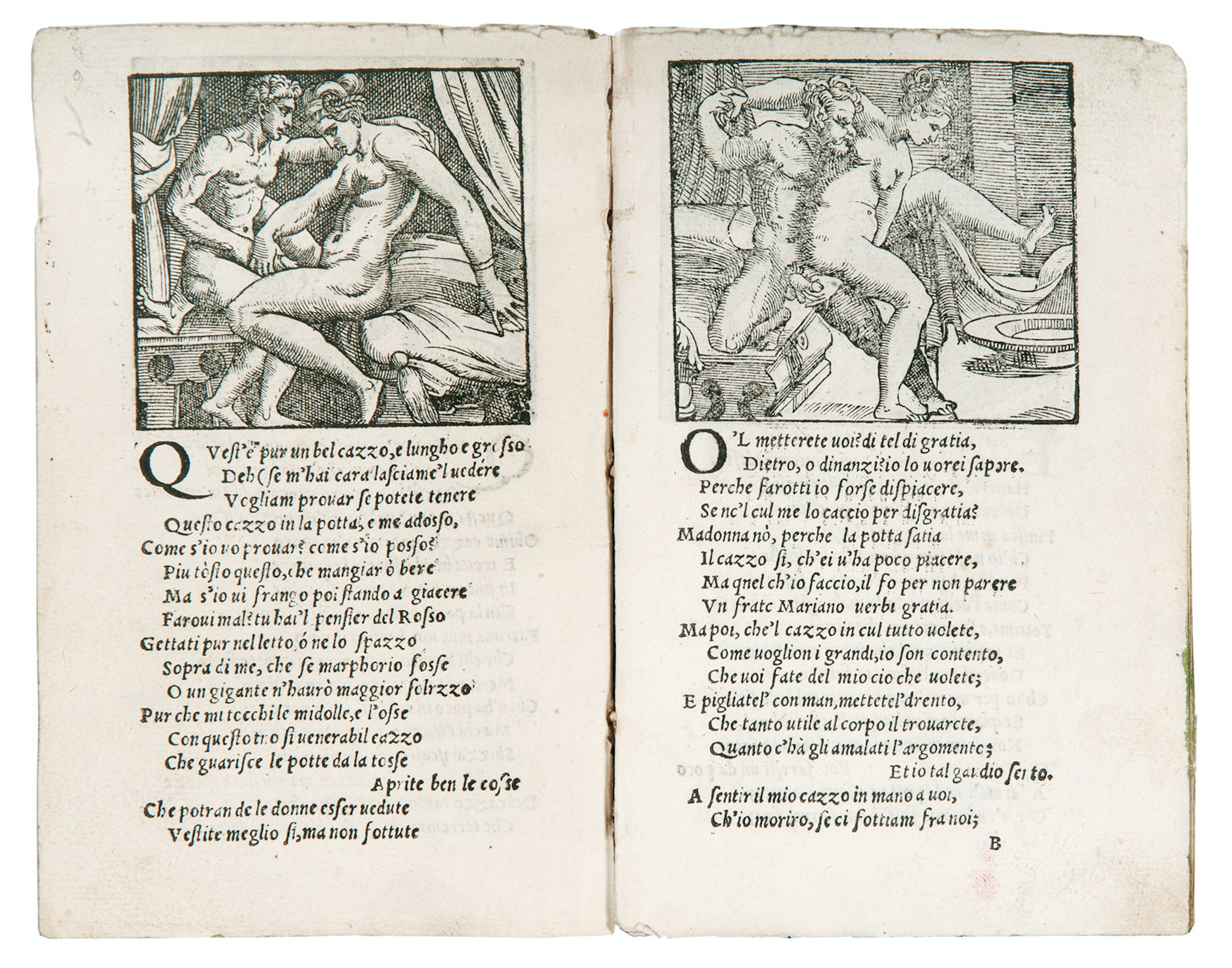 "Pietro Aretino e anonimo incisore veneziano Sonetti lussuriosi [Sonetti sopra i XVI modi] noto come ""opuscolo Toscanini"", ""T"" post 1537? - 1550 ca. xilografia Collezione privata 