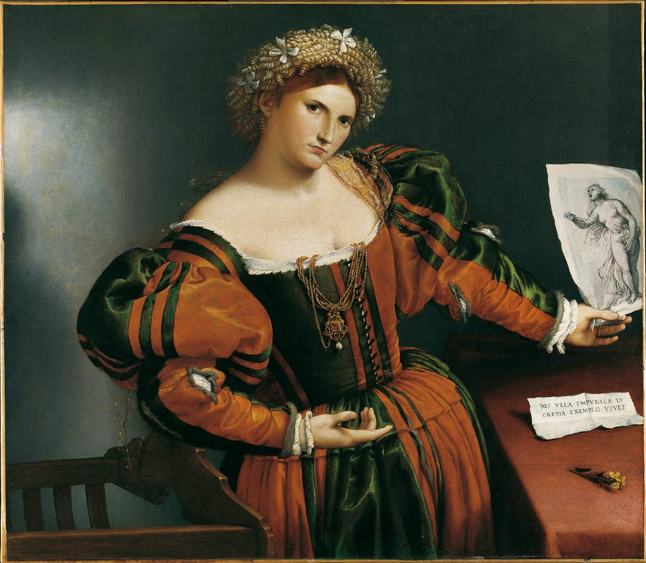 Lorenzo Lotto (Venezia, 1480 ca.-Loreto, 1556-1557) Ritratto di donna con un disegno di Lucrezia 1530-1533 ca. olio su tela The National Gallery, Londra | Lorenzo Lotto (Venice, c. 1480 – Loreto, 1556–7) Portrait of a Woman Inspired by Lucretia c. 1530-33 oil on canvas The National Gallery, London