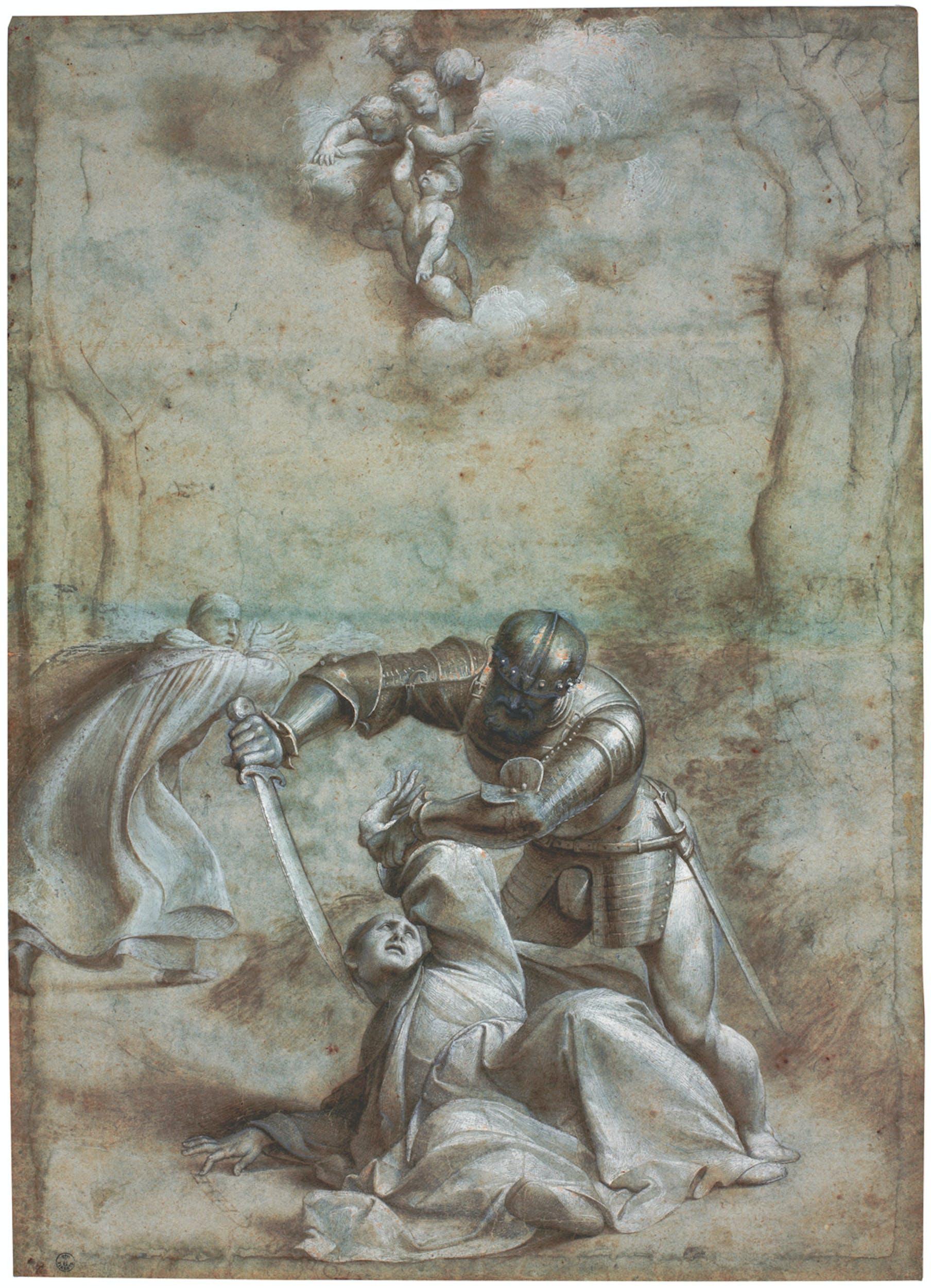 Giovanni Antonio de' Sacchis, detto Pordenone (Pordenone, 1483/1484-Ferrara, 1539) Uccisione di san Pietro martire da Verona anni Venti del XVI sec., seconda metà penna e inchiostro, pennello e inchiostro diluito, pietra nera, biacca, su carta cerulea sbiadita Gabinetto dei Disegni e delle Stampe, Gallerie degli Uffizi, Firenze | Giovanni Antonio de' Sacchis, known as Pordenone (Pordenone, 1483/4-Ferrara, 1539) Death of St. Peter Martyr of Verona c. 1525–8 pen and ink, brush and ink wash, black chalk, lead white, on faded light blue paper Gabinetto dei Disegni e delle Stampe, Gallerie degli Uffizi, Florence