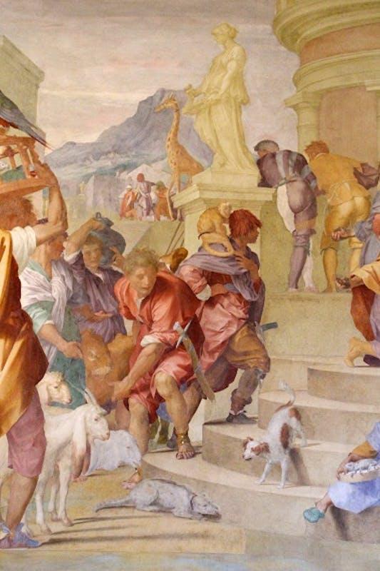 Particolare dell'affresco Il tributo a Cesare (1519-1521) di Andrea del Sarto, villa medicea di Poggio a Caiano (Prato).