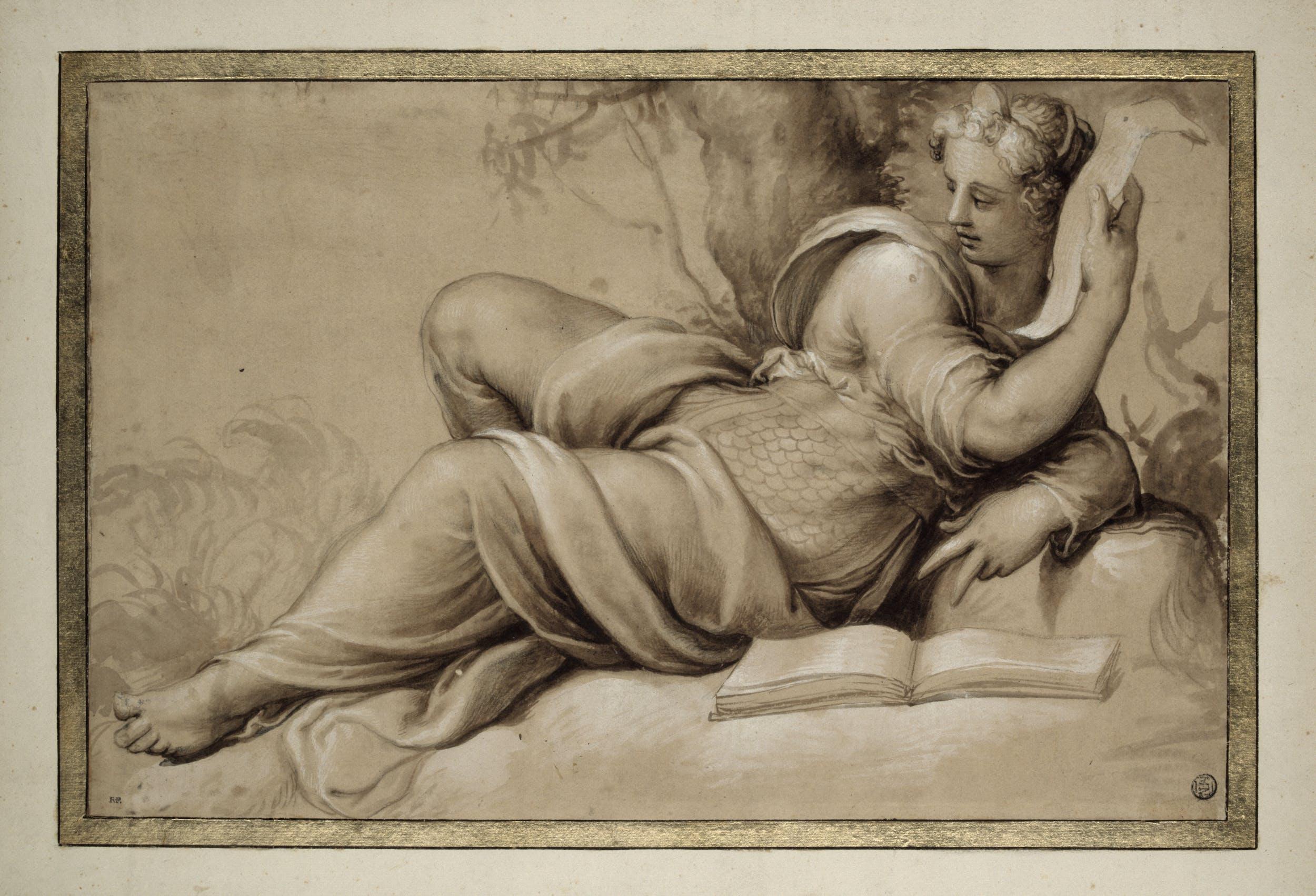 Francesco de' Rossi, detto Francesco Salviati (1510-1563) Figura femminile drappeggiata, sdraiata, con un libro aperto Intorno agli anni Cinquanta del Cinquecento matita nera, acquerello bruno e biacca (carbonato basico di piombo) su carta Département des arts graphiques, Musée du Louvre, Parigi