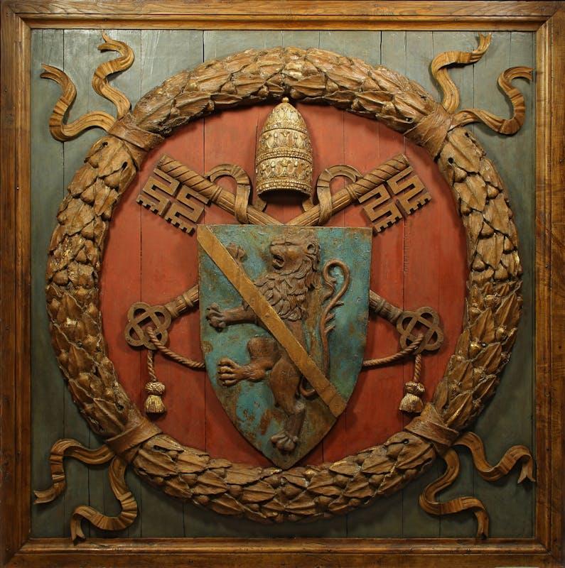 Giovannino de' Dolci, attr. (1435 circa – 1485 circa) Lacunare con stemma di papa Paolo II Barbo 1466-1467 legno di castagno intagliato e dipinto Museo Nazionale del Palazzo di Venezia, Roma