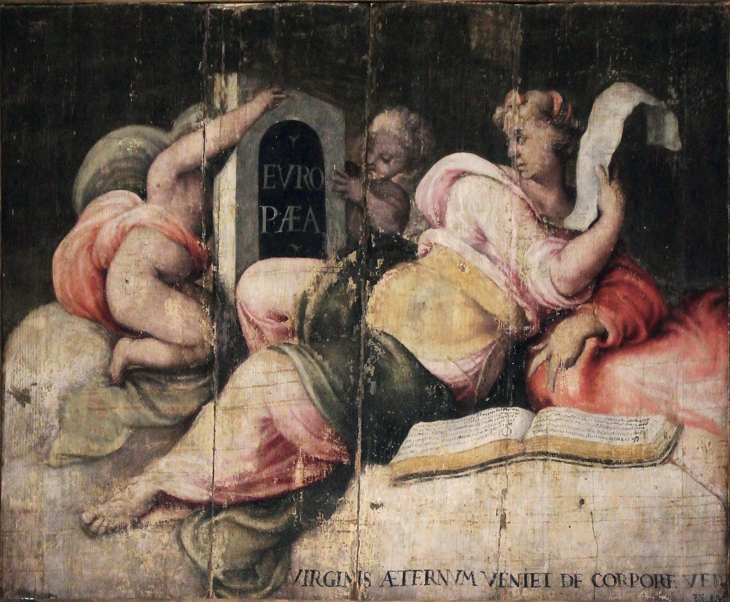 Scuola di Francesco de' Rossi, detto Francesco Salviati (1510-1563) Sibilla Europea (veduta prima del restauro) tempera su tavola Villa medicea di Cerreto Guidi e Museo storico della Caccia e del Territorio, Cerreto Guidi