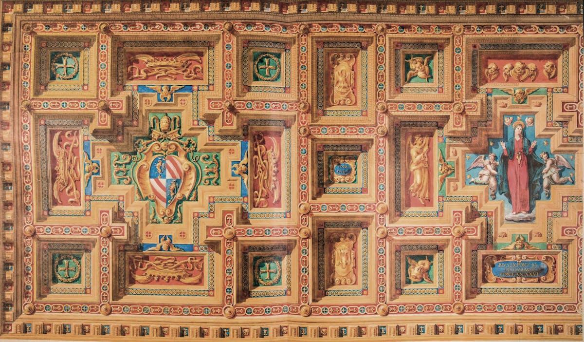 Virginio Vespignani (1808-1882) Disegno per il restauro del soffitto ligneo del transetto della basilica di Santa Maria in Trastevere a Roma 1872-1874 incisione su carta dipinta a tempera Biblioteca di Archeologia e Storia dell'Arte, Roma