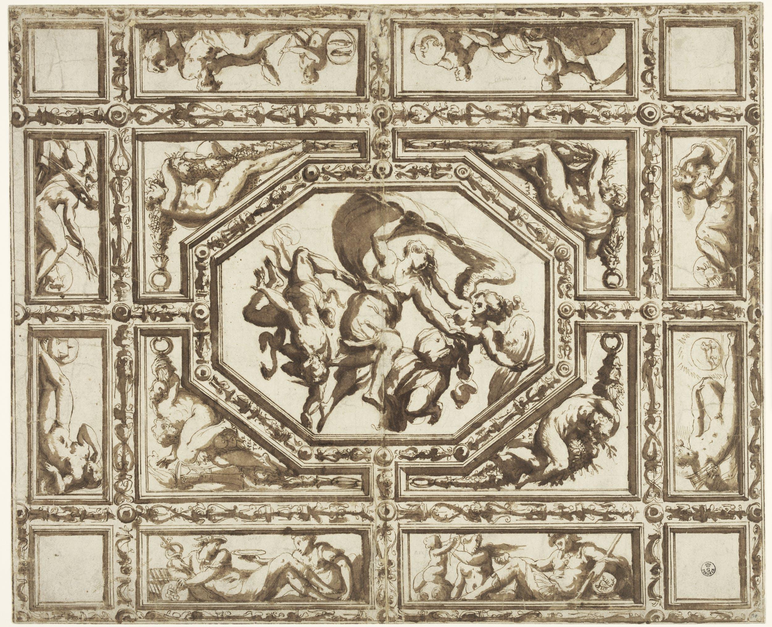 Giorgio Vasari (1511-1574) Disegno del soffitto di Casa Vasari ad Arezzo Post 1548 tracce di pietra nera, penna e inchiostro, pennello e inchiostro diluito su carta Gabinetto dei Disegni e delle Stampe, Gallerie degli Uffizi, Firenze