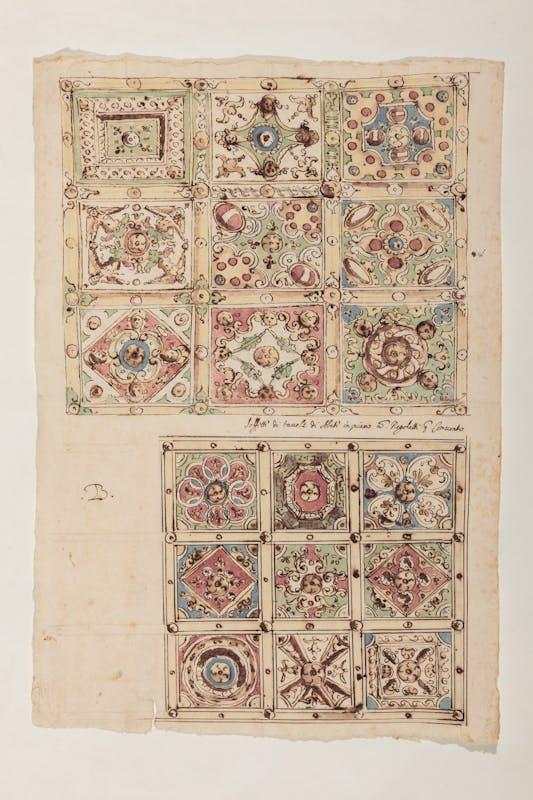 Pietro Veri (1568 circa - 1611) Disegni di soffitti lignei per palazzo Firenze 1610 penna, inchiostro, acquerelli su carta Archivio di Stato, Firenze