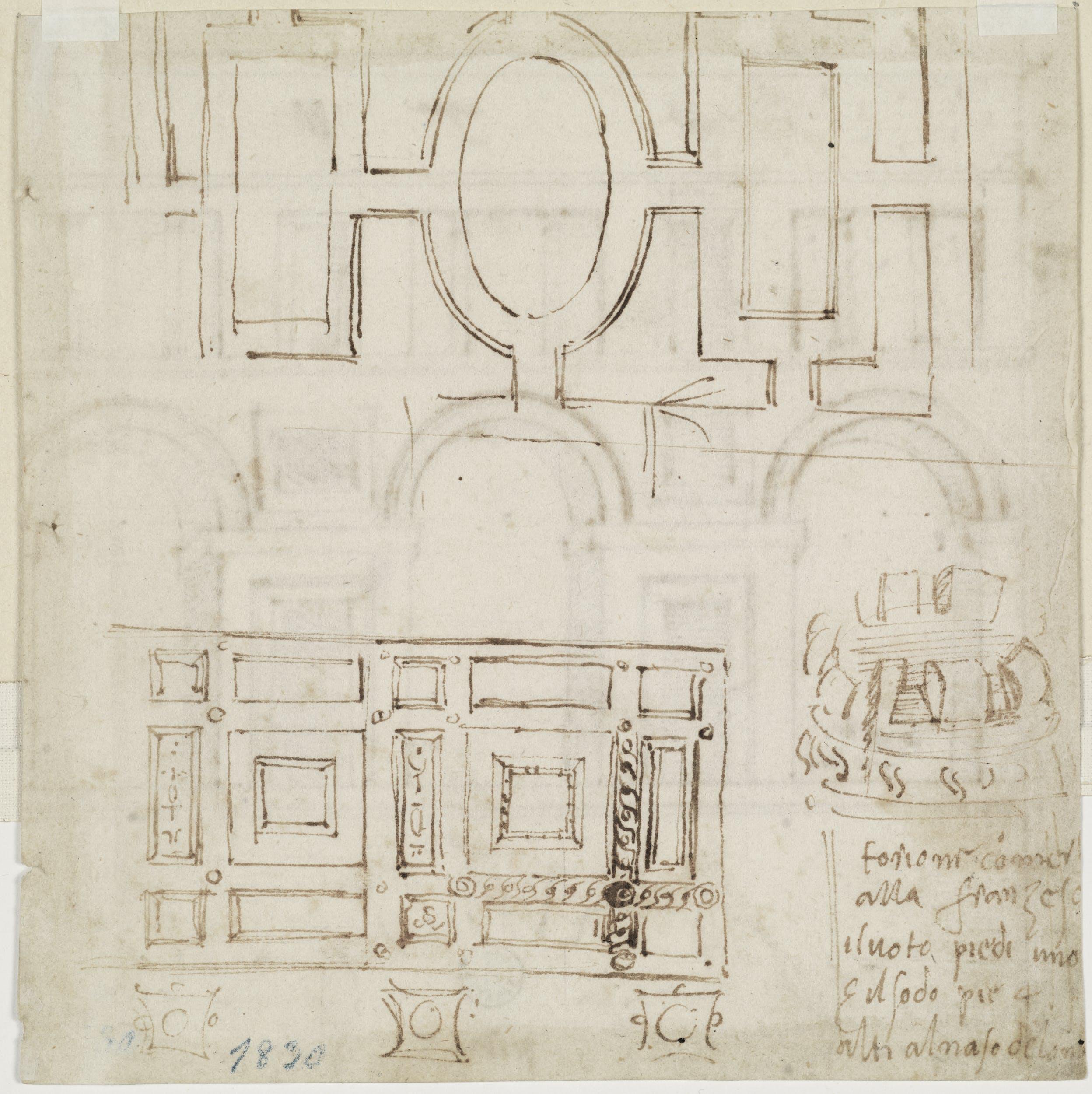 Bastiano da Sangallo detto Aristotele da Sangallo (1481-1551) Due piante di soffitto di portico e schizzo Prima metà del XVI secolo penna, inchiostro e stilo su carta Gabinetto dei Disegni e delle Stampe, Gallerie degli Uffizi, Firenze