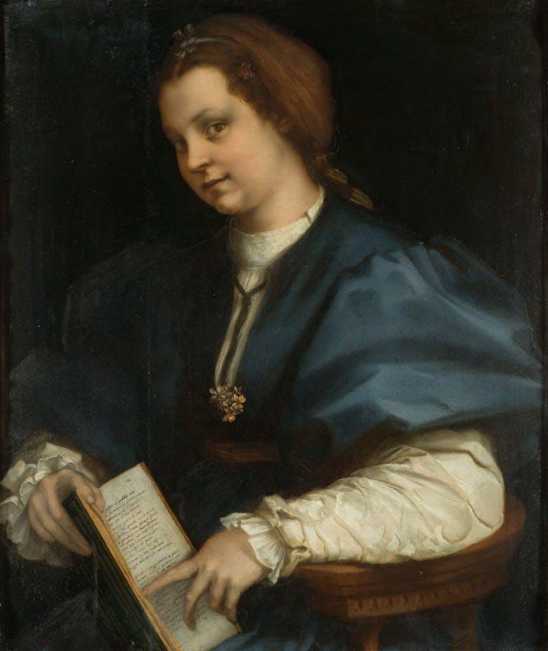 Ritratto di giovane donna con un 'petrarchino'