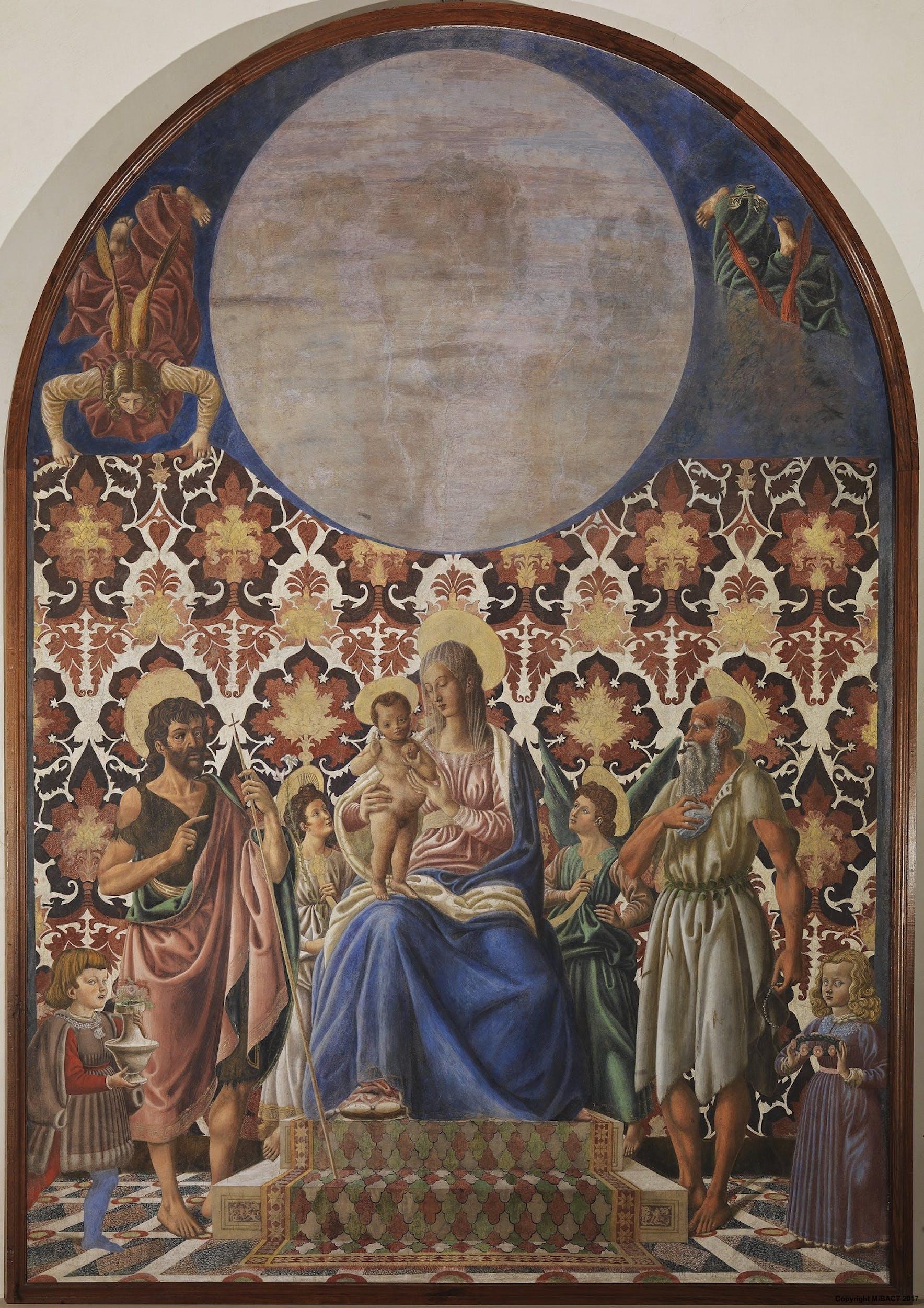 Madonna in trono col Bambino, i santi Giovanni Battista e Girolamo, angeli e due fanciulli della famiglia Pazzi