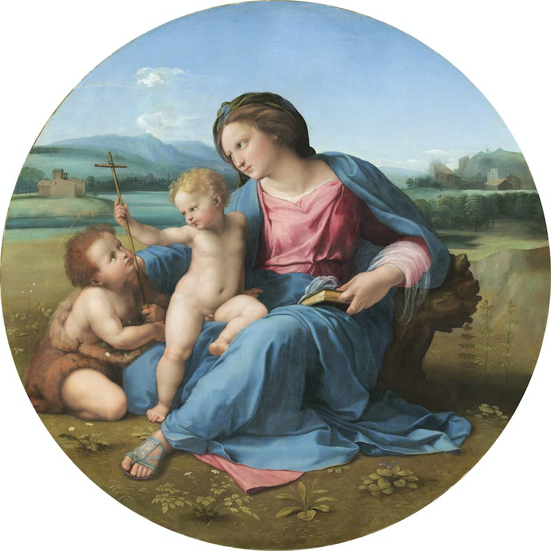 Raffaello Madonna con il Bambino e san Giovannino (Madonna d'Alba) Madonna and Child with Saint John 1510 circa olio su tavola trasferito su tela / oil on panel transferred to canvas  Washington, D.C., National Gallery of Art, Andrew W. Mellon Collection