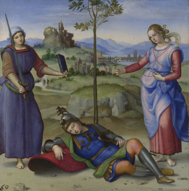 Raffaello Il sogno del cavaliere (Ercole al bivio) The knight's dream 1504 olio su tavola / oil on panel Londra, The National Gallery
