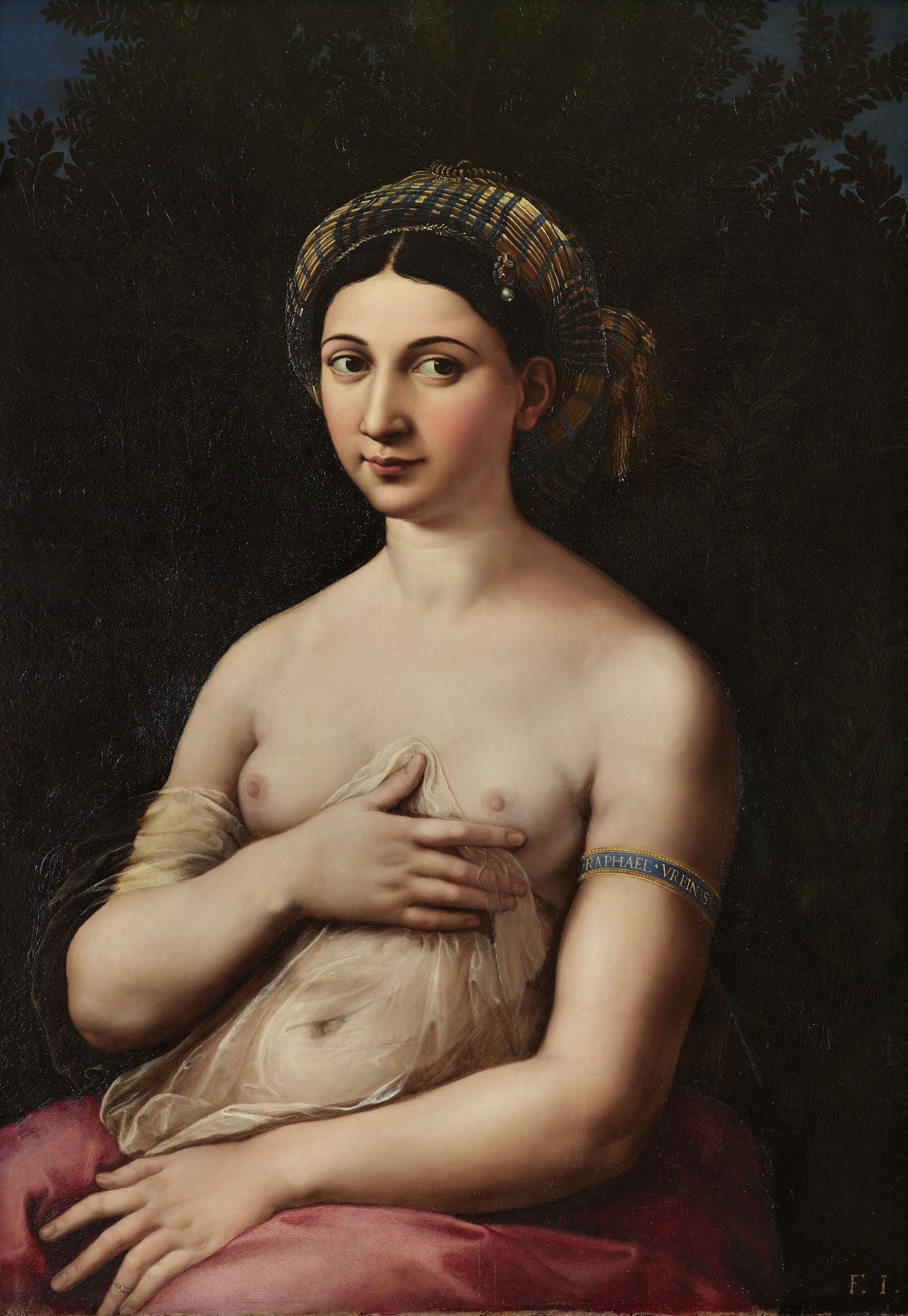 """Raffaello Ritratto di donna nei panni di Venere (""""Fornarina"""") Portrait of woman in the role of Venus (""""Fornarina"""") 1519-1520 circa olio su tavola / oil on panel Roma, Gallerie Nazionali d'Arte Antica di Roma, Barberini"""
