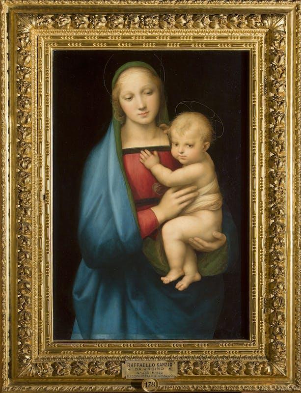 ) Raffaello Madonna con il bambino (Madonna del Granduca) 1506-1507 olio su tavola di pioppo/ oil on poplar panel Firenze, Gallerie degli Uffizi, Galleria Palatina