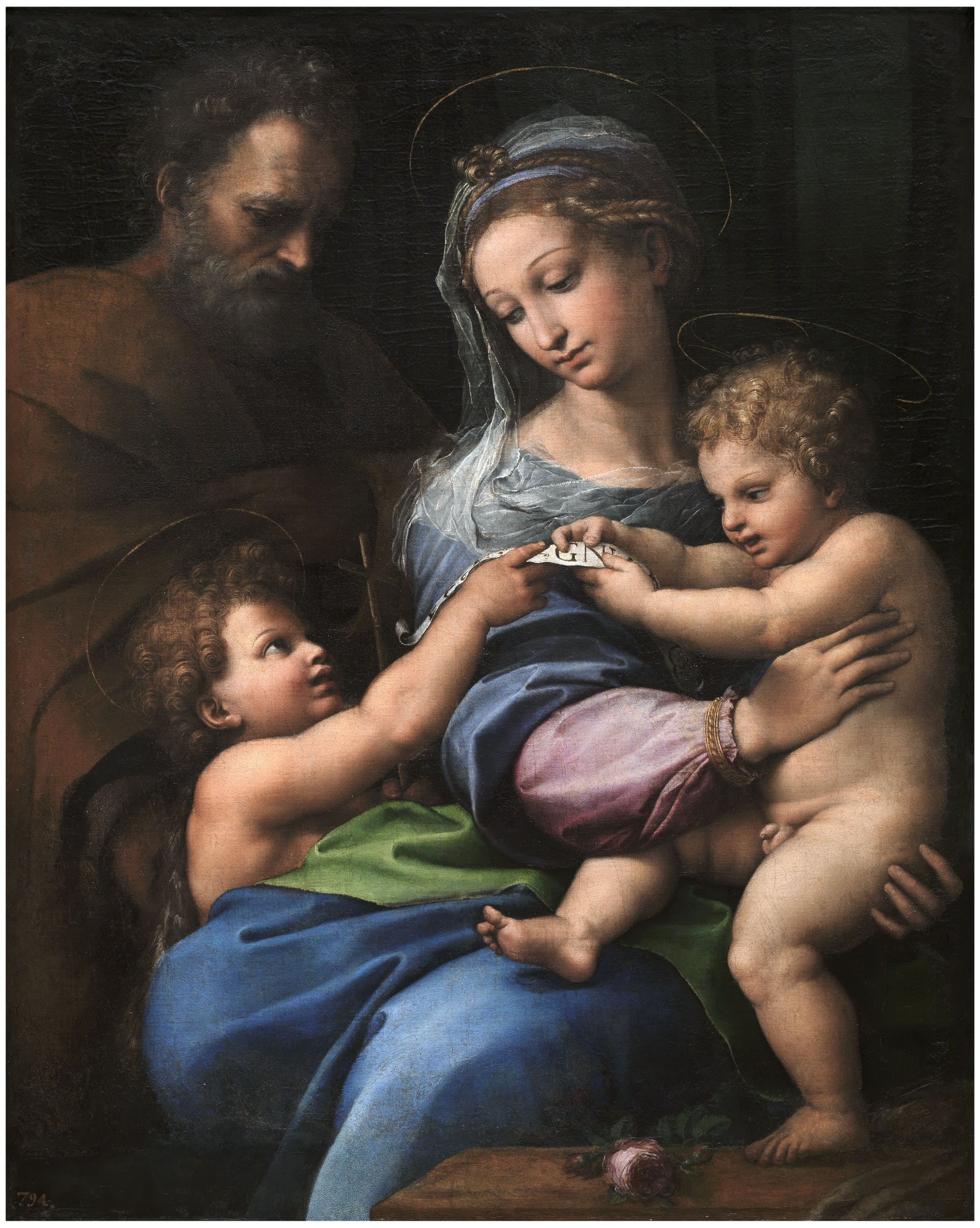 Raffaello  La Madonna della Rosa Madonna of the Rose 1518-1520 olio su tavola trasportata su tela / oil on panel transferred to canvas Madrid, Museo Nacional del Prado