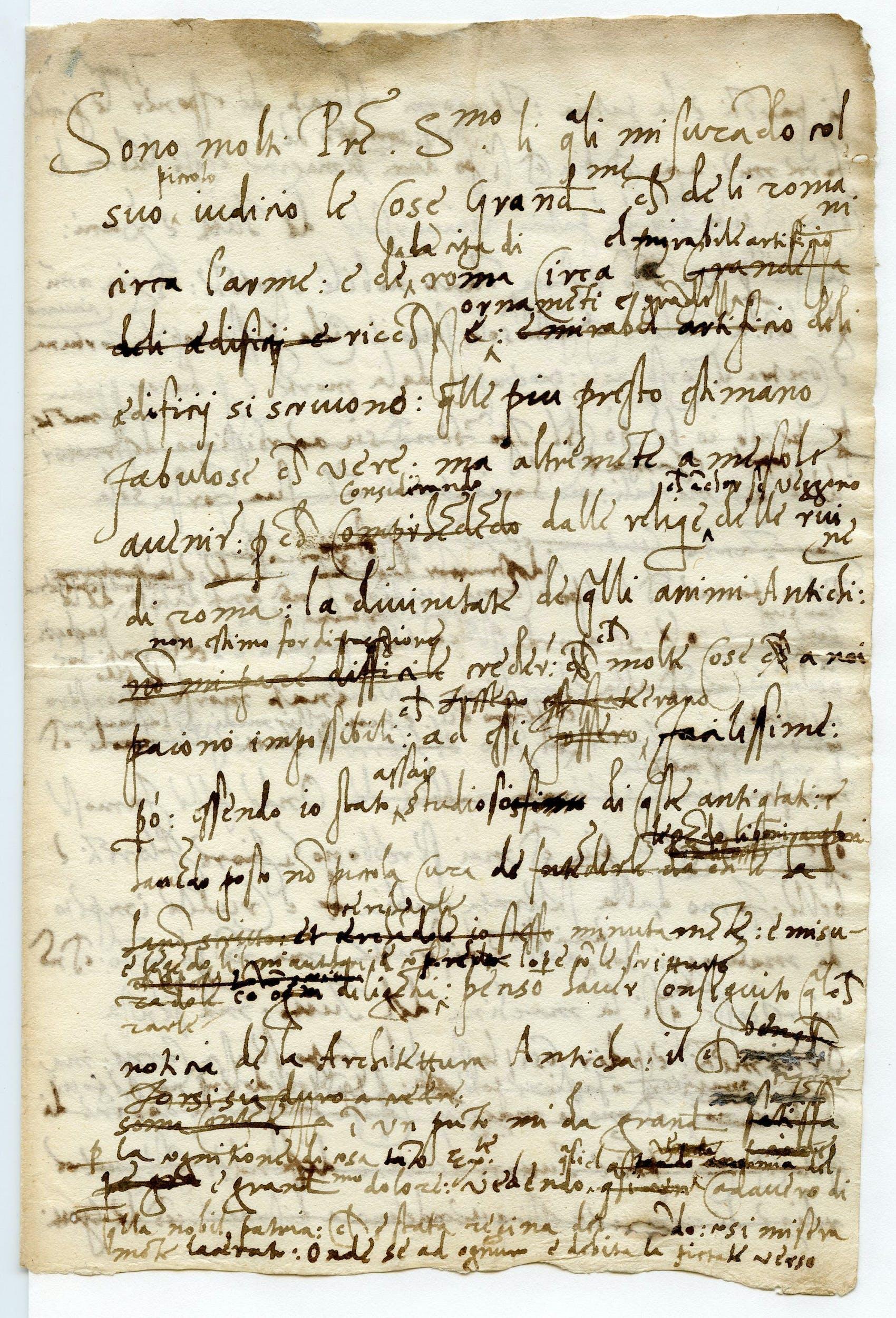 ) Baldassarre Castiglione  Lettera a Leone X  Letter to Pope Leone X 1519 Inchiostro su carta / ink on paper Mantova, Archivio di Stato