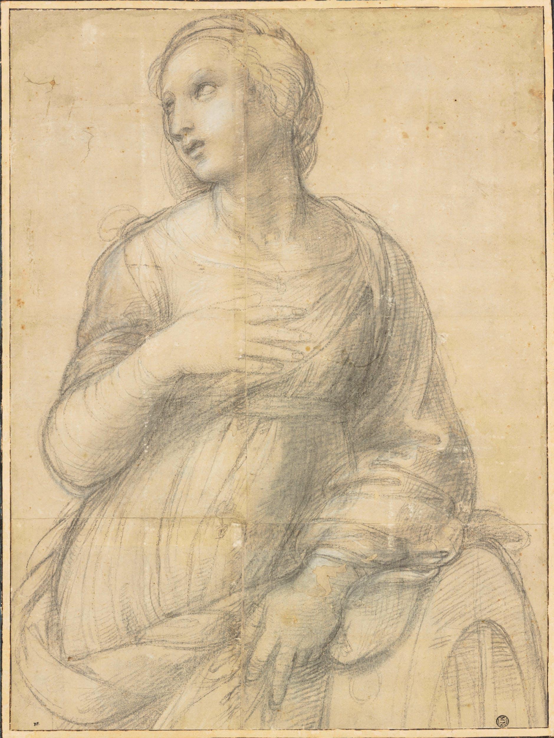 Raffaello Santa Caterina d'Alessandria 1507 circa pietra nera / black chalck Parigi, musée du Louvre, dèpartement des Arts graphiques