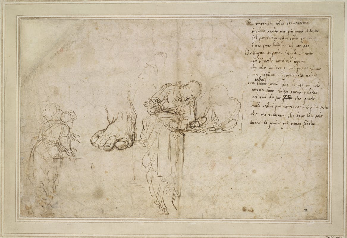 Raffaello Studi per la Disputa del Sacramento e un sonetto Studies for the Dispue of the sacramente and a sonnet 1509 – 1511 circa penna e inchiostro / pen and ink Londra, The British Museum, department of Prints and Drawings