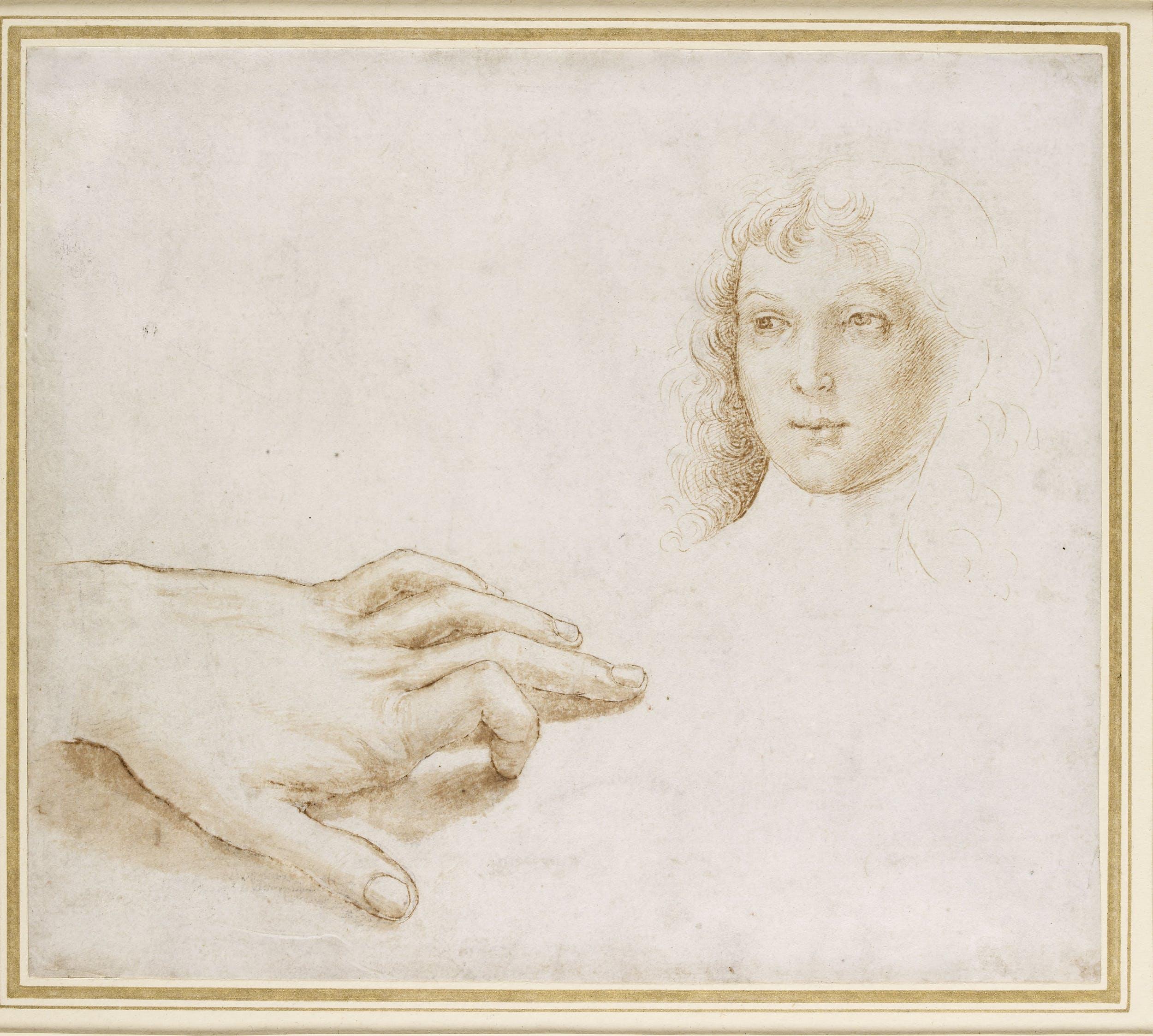 Raffaello Studio di una mano e di un volto Study of hand and face 1497-1499 pietra nera / black chalck Oxford, Ashmolean Museum