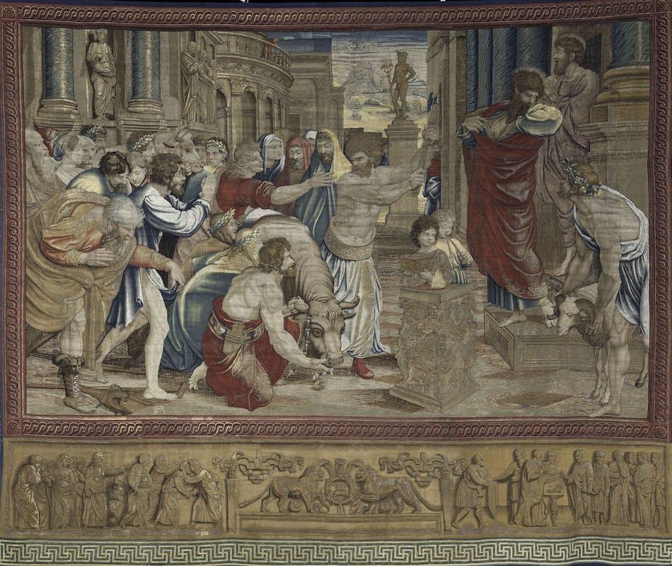 Manifattura di Pieter van Aeist  Il Sacrificio di Lystra,  The Sacrifice of Lystra 1517-1519 ordito: lana / warp: wool Città del Vaticano, Musei Vaticani, Pinacoteca Vaticana, Salone di Raffaello