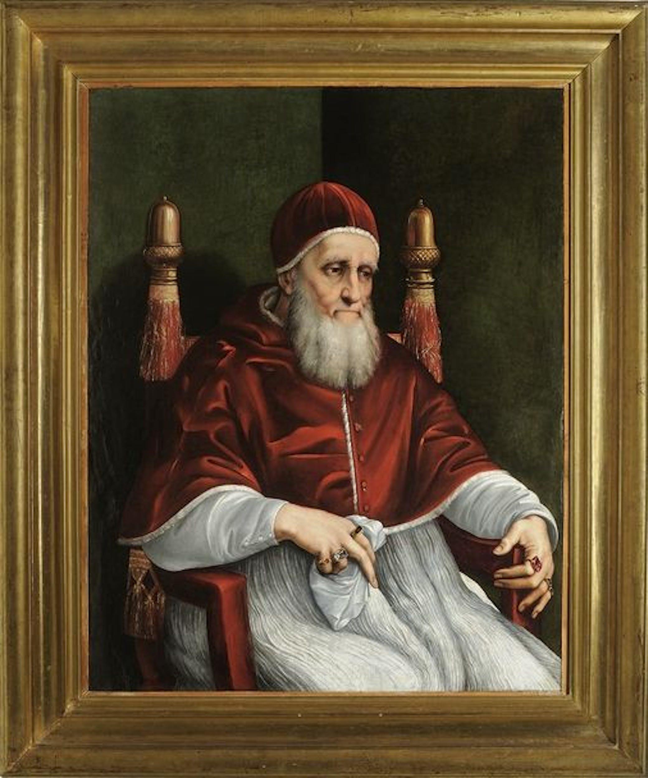 Raffaello Ritratto di Giulio II Portrait of Giulio II ante marzo 1512 olio su tavola / oil on panel Londra, The National Gallery