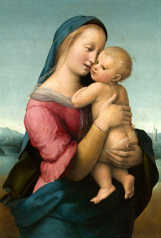 Raffaello Madonna Tempi 1507-1508 olio su tavola / oil on panel Monaco, Bayerische Staatsgemäldesammlung Alte Pinakothek