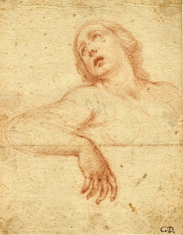 Cesare Dandini (Firenze 1596-1657), Figura femminile, pietra rossa su carta