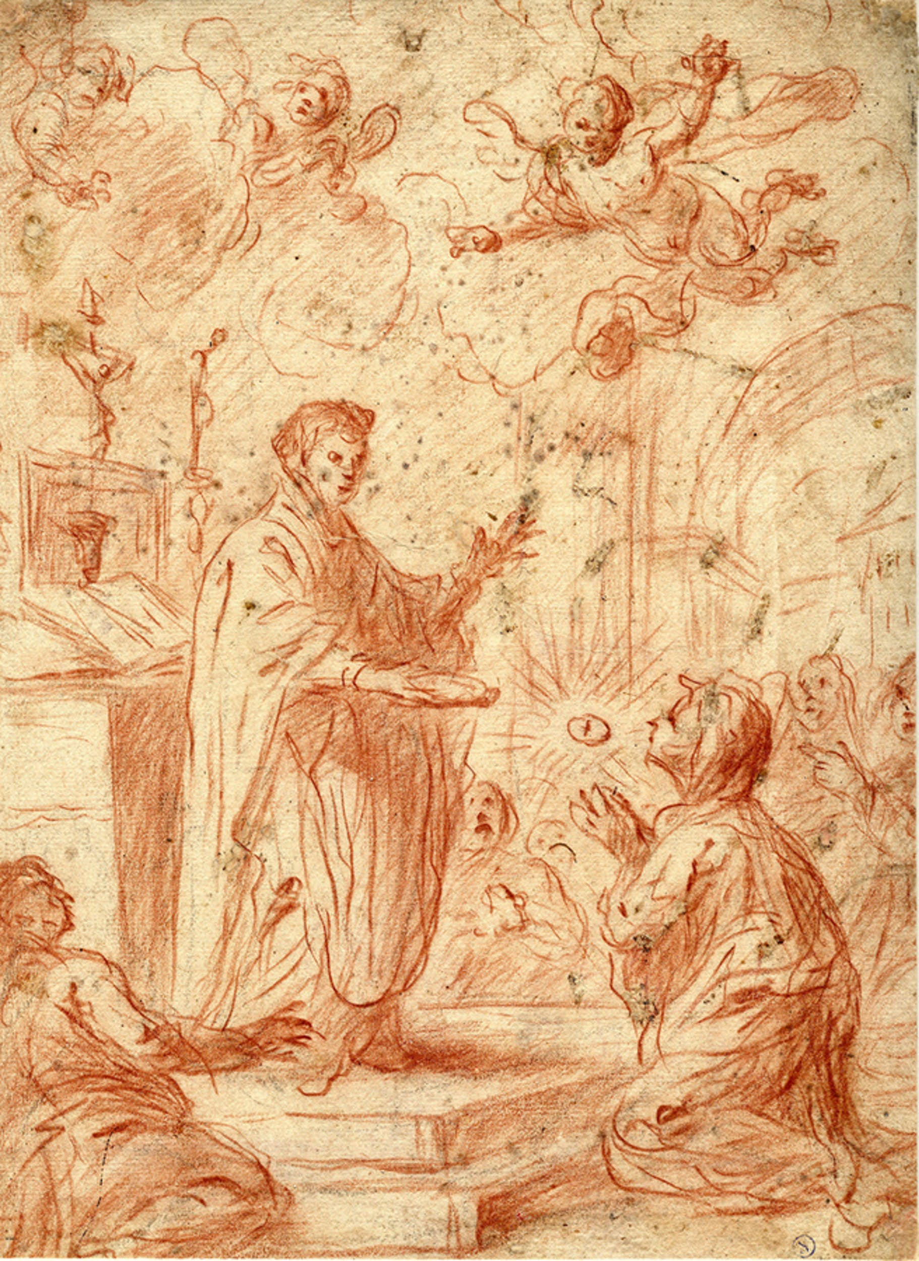 Giovanni Bilivert (Firenze 1585-1644) (attr.), Santa Teresa riceve l'Eucarestia, pietra rossa su carta