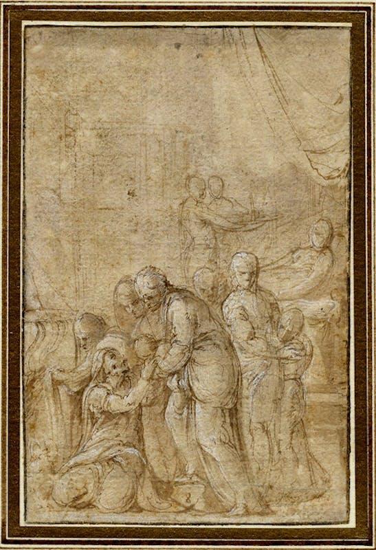 Battista Franco (Venezia 1510-1561), Natività della Vergine , penna e inchiostro, inchiostro diluito e biacca su carta