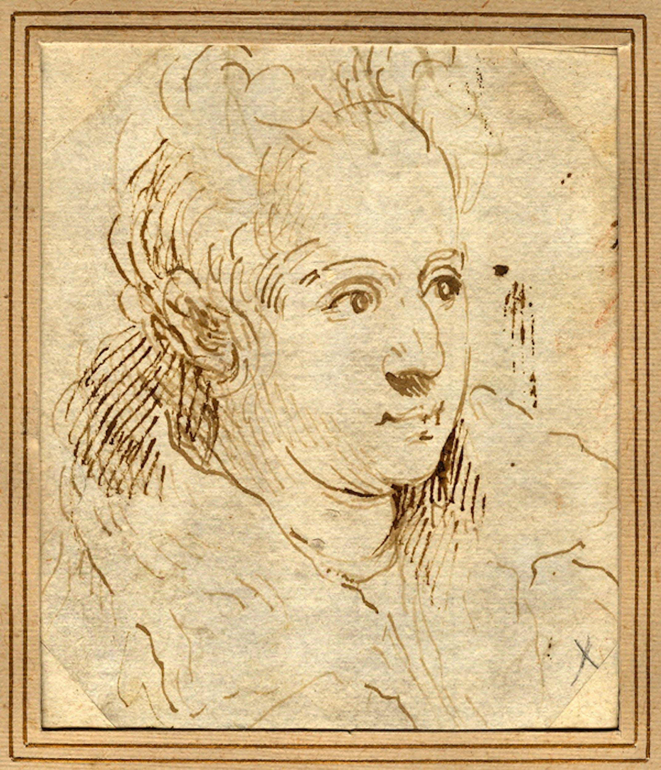Palma il Giovane (Venezia 1544-1628), Ritratto della moglie, penna e inchiostro