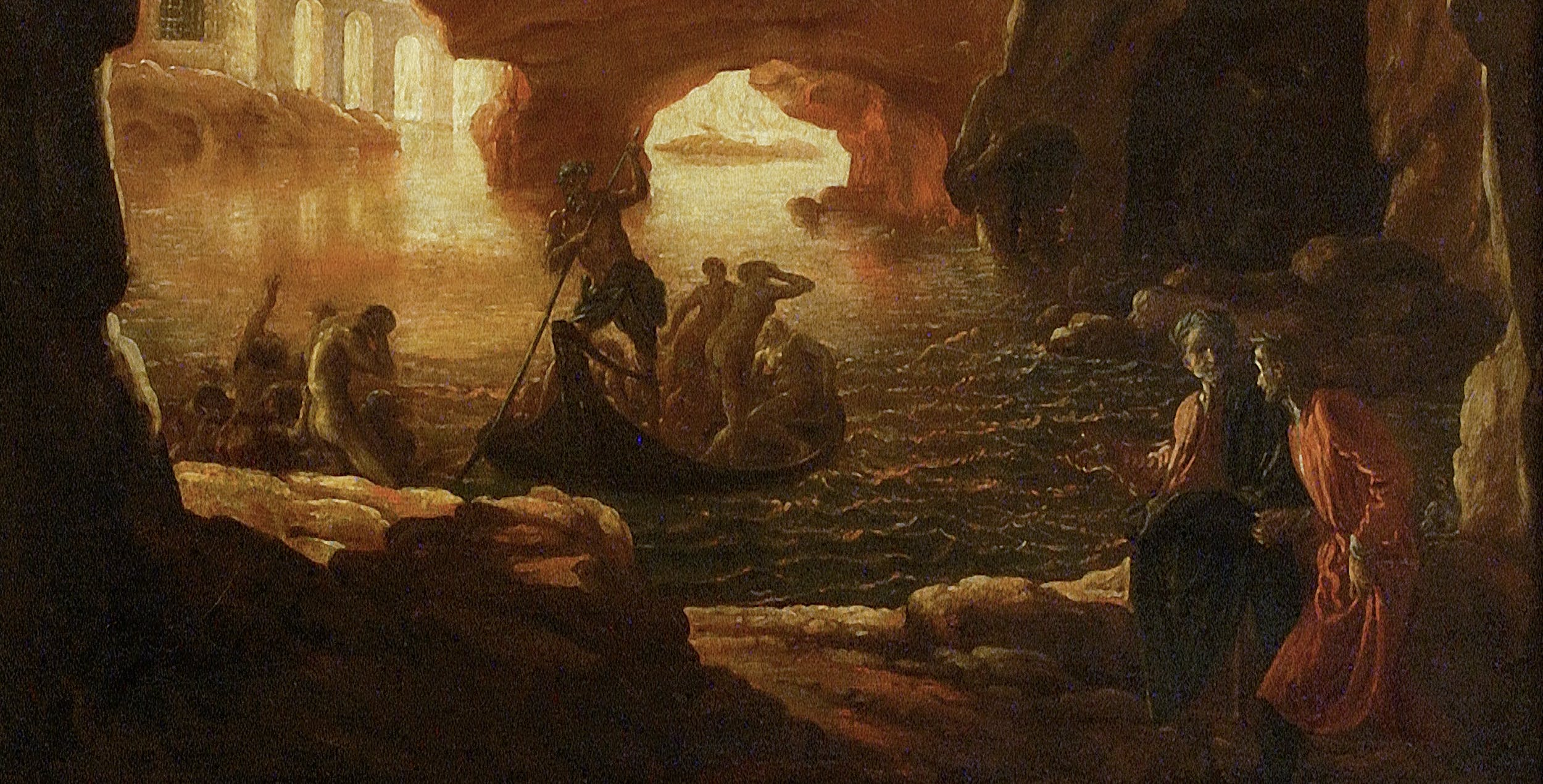 Livio Mehus, Crescenzio Onofri, Dante e Virgilio all'Inferno, Palazzo Pitti, Galleria Palatina (part.)