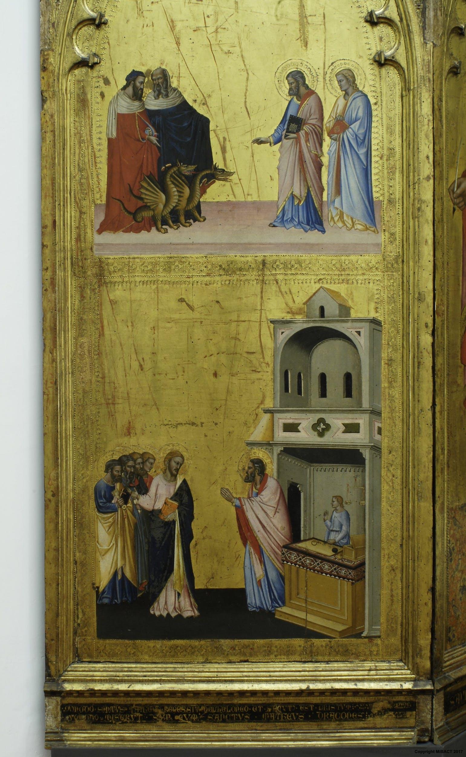 San Matteo ammansisce i due draghi di Vadabar;Vocazione di san Matteo | St Matthew tames the two dragons of Vadabar;Vocation of St Matthew