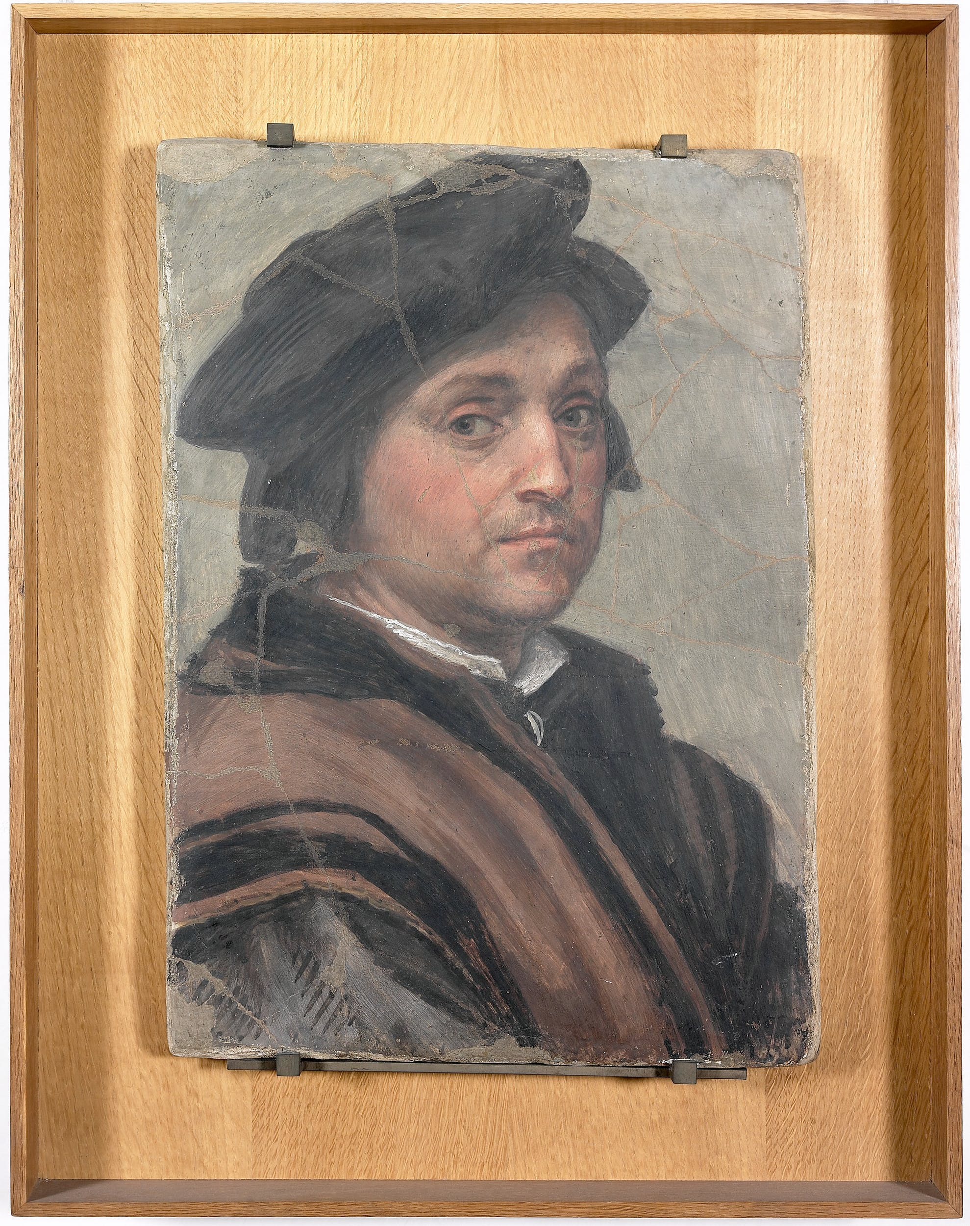 Andrea del Sarto, Autoritratto, 1528–1530, affresco su embrice, 51,5 x 37,5 cm, Firenze, Gallerie degli Uffizi, inv. 1694, n. 1890.