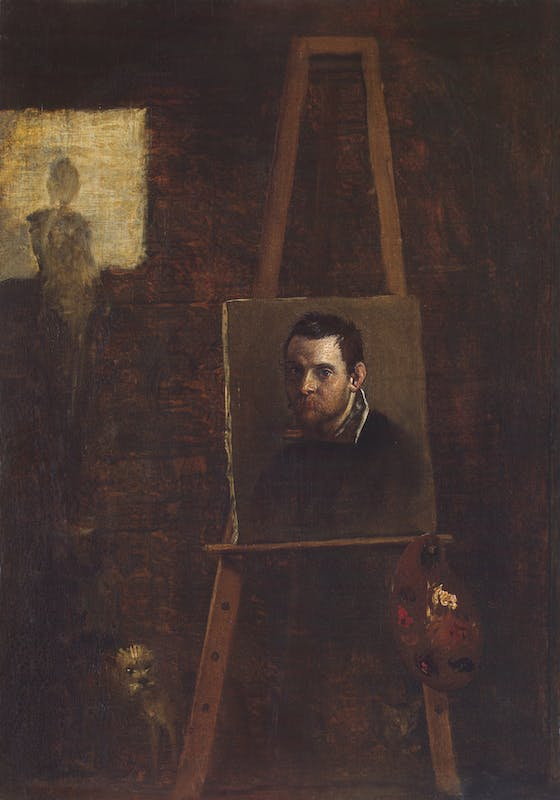 Annibale Carracci, Self-Portrait on an Easel, ca. 1604 or a later copy, oil on panel, 36.5 x 29.8 cm. Florence, Uffizi Gallery (inv. 1890, no. 1774).