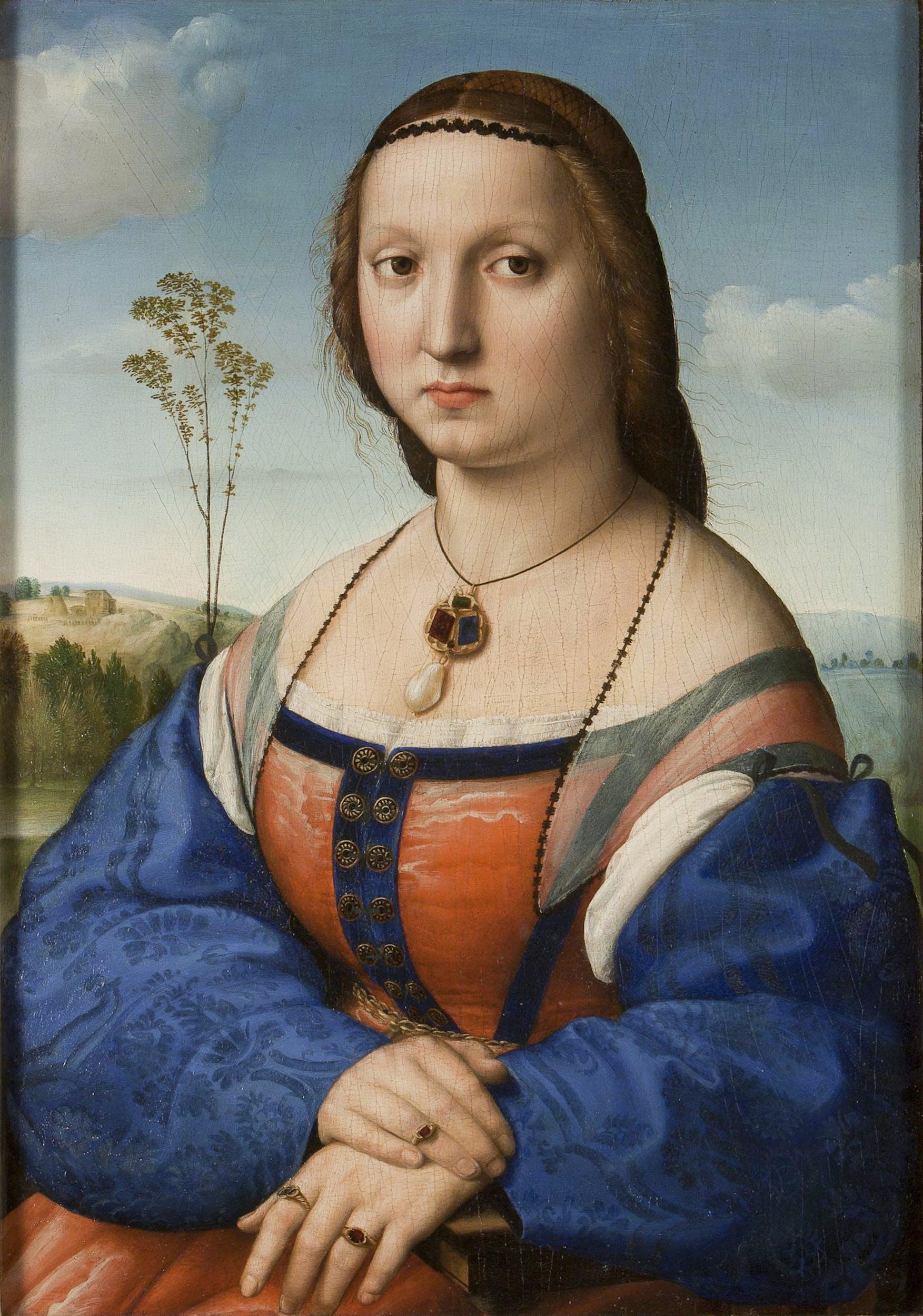 Raffaello, Ritratto di Maddalena Doni, 1505-1506, Firenze, Gallerie degli Uffizi.