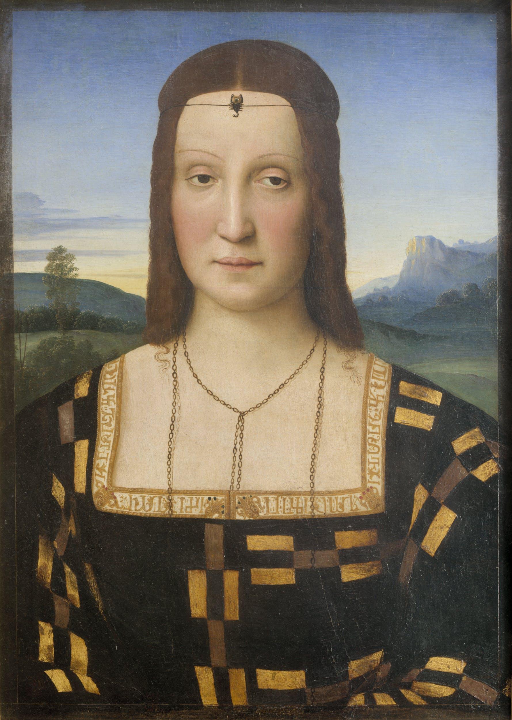 Raffaello, Ritratto di Elisabetta Gonzaga, 1500-1506, Firenze, Gallerie degli Uffizi.