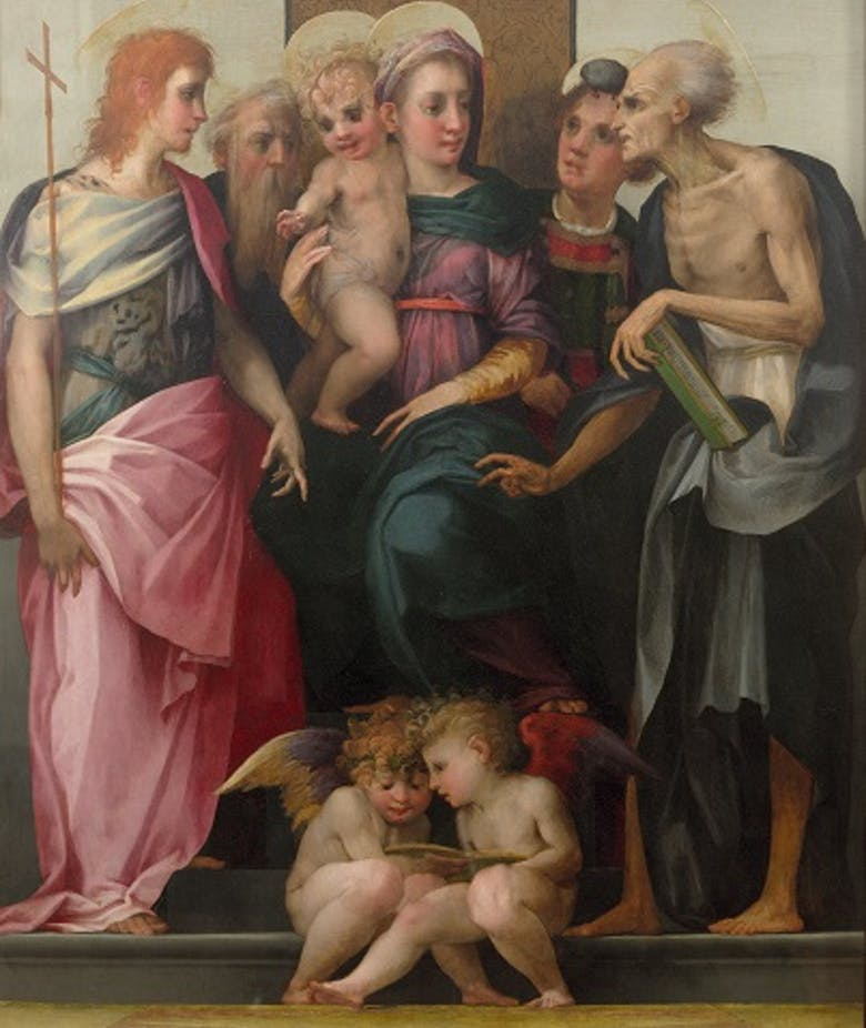 Enthroned Madonna and Child with four saints