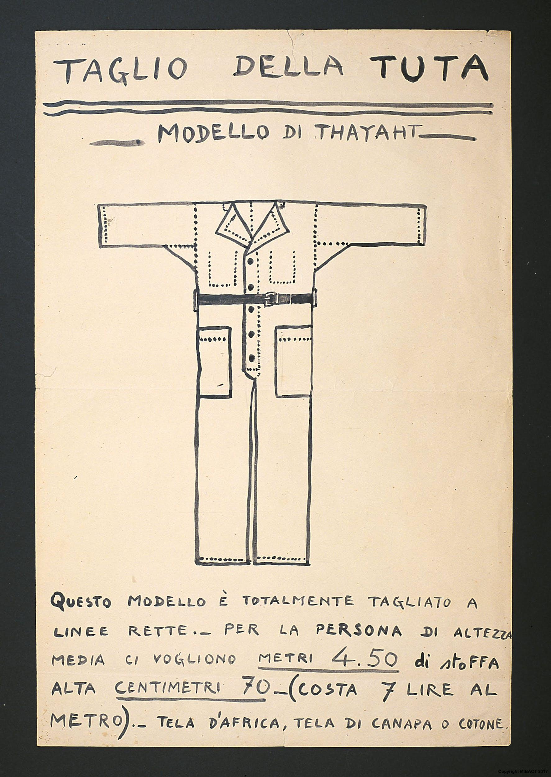 Thayaht, Taglio della Tuta, 1920 ca., tempera su carta, 60,5 x 40 cm