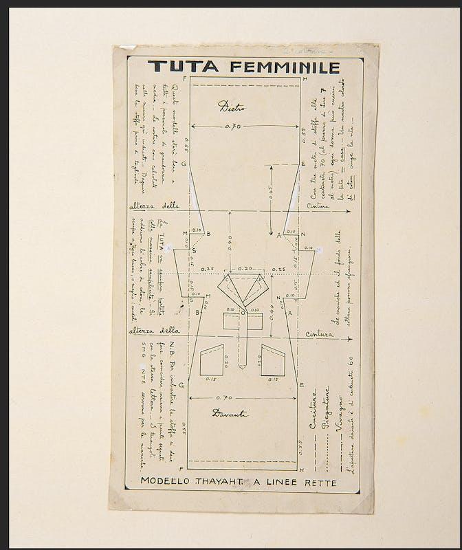 Thayaht, Taglio femminile della Tuta, 1920, inchiostro su carta, 29,5 x 17 cm